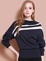XuanFeiLu Women's Round Neck Long Sleeve Sweater & Cardigan Dark Blue-Q-611