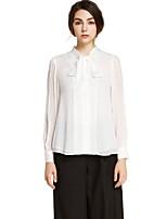 Chemise Femme,Couleur Pleine Décontracté / Quotidien simple Printemps / Automne Manches Longues Asymétrique Blanc Polyester Moyen / Fin