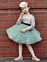 Ball Gown Knee-length Flower Girl Dress - Tulle / Stretch Satin Long Sleeve Jewel with Embroidery / Ruffles / Sequins