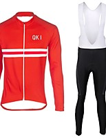 QKI red Cycling Jersey with Bib long Tights Long Sleeve Bike Breathable / Quick Dry / Anatomic Design / Front Zipper / 3D coolmax gel pad