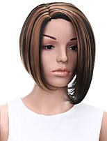 короткие прямые волосы черные и коричневые смешанный цвет синтетические парики для женщин