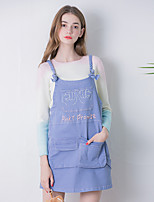 Linjou Women's Going out Cute Denim DressEmbroidered Strap Above Knee Sleeveless Blue Cotton Summer Mid Rise Medium
