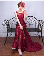 Formal Evening Dress Trumpet / Mermaid Scoop Sweep / Brush Train Lace with Beading