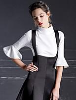 Damen Solide Einfach Ausgehen T-shirt,Rollkragen Frühling / Herbst ¾-Arm Weiß / Schwarz Baumwolle / Nylon Undurchsichtig