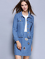 Women's Casual/Daily Simple Fall Set Skirt Suits,Striped Stand Long Sleeve Blue Cotton Medium