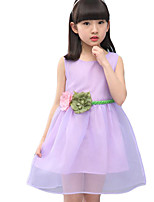 Girl's Casual/Daily Solid Dress,Cotton / Polyester Summer Pink / Purple / Beige
