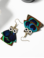Fashion Blue Green Feather Peacock Owl Pendant Drop Tassel Earrings