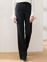 Women's Solid Black Chinos Pants,Simple Winter
