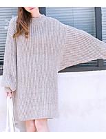 Для женщин На каждый день Уличный стиль Длинный Пуловер Однотонный,Коричневый Серый Круглый вырез Длинный рукав Хлопок Осень Средняя