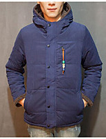 Men's Regular Padded Coat,Vintage Casual/Daily Solid-Cotton Cotton Long Sleeve Blue