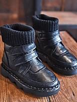 Boty-mikrovlákno-Pohodlné-Dívčí-Černá / Khaki-Běžné
