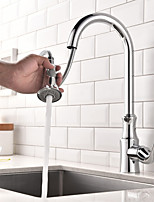 Contemporain Pull-out / Pull-down Set de centre Avec spray démontable Pivotant with  Soupape céramique Mitigeur un trou for  Chrome ,