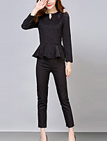 Women's Casual/Daily Simple All Seasons Set Pant Suits,Solid Round Neck Long Sleeve White / Black Polyester Medium