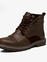 Men's Boots Spring / Fall Comfort PU Casual Flat Heel Black / Brown Sneaker