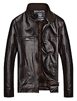 Men's Plus Size / Casual/Daily Punk & Gothic Leather Jackets,Solid Stand Long Sleeve Winter Brown PU Thick