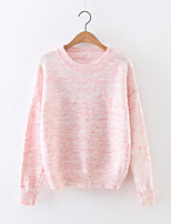 Women's Going out Simple Regular Pullover,Solid Pink / Gray Round Neck Long Sleeve Cashmere / Polyester Fall Medium Micro-elastic