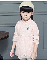 Girl's Casual/Daily Solid DressCotton Spring / Fall Pink / Beige