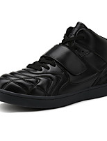 Men's Sneakers Fashion High Top Shoes Casual Flat Heel Hook & Loop / Lace-up Black / Red / White Walking