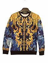 Men's Casual/Daily / Sports / Holiday Simple / Boho / Active Regular Hoodies,Print Blue / Yellow Round Neck Long Sleeve PolyesterFall /