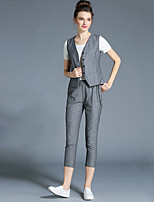 Women's Casual/Daily Street chic Summer T-shirt Pant Suits,Solid V Neck Sleeveless Gray Cotton Opaque