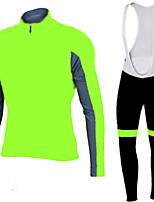 Sportif Maillot et Cuissard Long à Bretelles de Cyclisme Homme Manches longues VéloRespirable / Séchage rapide / Design Anatomique / Zip