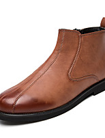 Men's Boots Spring Summer Fall Winter Comfort Leather Office & Career Party & Evening Flat Heel Black Brown Others