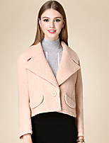 Women's Casual/Daily Cute Coat,Solid Notch Lapel Long Sleeve Winter Pink Cotton