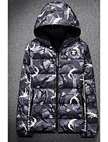 Men's Down Coat,Simple Casual/Daily Camouflage-Cotton Gray Goose Down Long Sleeve Stand Gray / Green