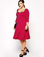 Women's Plus Size / Going out / Casual/Daily Sexy / Vintage / Simple A Line DressSolid Asymmetrical Knee-length