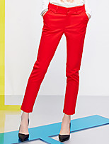 I'HAPPY Women's Solid Blue / Red Slim PantsSimple Spring / Fall