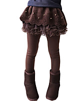 Menina de Vestido / Leggings,Casual Cor Única Lã / Algodão Primavera / Outono Azul / Marrom