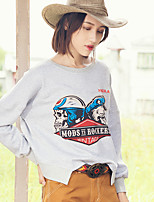 Aporia.As Women's Casual/Daily Street chic Fall T-shirtPrint Round Neck Long Sleeve Gray Polyester-MZ12054