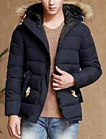 Пальто Простое Длинная На подкладке Мужчины,Однотонный На каждый день Полиэстер Полиэстер,Длинный рукав Синий / Черный / Коричневый