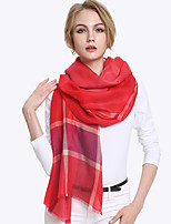 Women Vintage Casual Rectangle Plain Grid Pattern wool Scarf Shawl Beach Towel