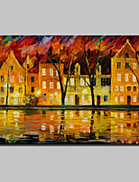 Hand-Painted Knife House Landscape Oil Painting On Canvas Modern Abstract Wall Art For Home Decoration Ready To Hang