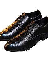 Синий Коричневый-Мужской-Повседневный-Кожа-На плоской подошве-Удобная обувь-Туфли на шнуровке