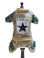 Dog Clothes/Jumpsuit Green Gold Dog Clothes Winter Spring/Fall Stars Fashion
