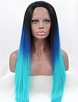 Sylvia Synthetic Lace front Wig Black Roots Blue Three Tones Ombre  Hair Heat Resistant Long Straight Synthetic Wigs