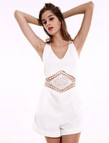 1287 Women's Solid White JumpsuitsStreet chic V Neck Sleeveless