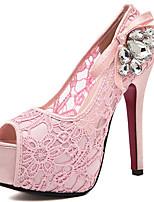 Damen-High Heels-Kleid Lässig-PU-Stöckelabsatz Plateau-Plateau Komfort Club-Schuhe Light Up Schuhe-Rosa Mandelfarben