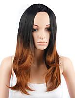 мода стиль длинные прямые волосы черный и желтый цвет синтетические парики для женщин