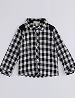 Unisex Casual/Daily Houndstooth Shirt,Cotton Fall Long Sleeve Regular