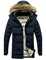 Maternity Long Padded Coat,Simple Casual/Daily Solid-Polyester Polypropylene Long Sleeve Hooded Blue / Black / Brown