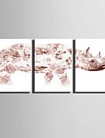 toile set Abstrait / Animal Style européen,Trois Panneaux Toile Verticale Imprimer Art Décoration murale For Décoration d'intérieur