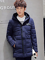 Men's Long Padded Coat,Simple Casual/Daily Solid-Cotton Cotton Long Sleeve Hooded Blue / Red / Black / Green