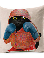 Polyester Decorative Cushion Pillow Cover Print Animal Boxing Cat Sofa Home Decor 45x45cm