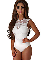 Women's Lace High Neck Cut Out Back Bodysuit
