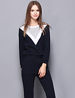 Women's Casual/Daily Simple Fall / Winter T-shirt Pant Suits,Color Block Round Neck Long Sleeve Blue Cotton Medium