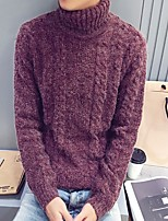 Men's Going out / Casual/Daily Vintage / Street chic Regular Pullover,Solid Red / Gray Turtleneck Long Sleeve Faux Fur Fall / Winter