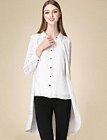 Chemise Femme,Rayé Décontracté / Quotidien simple Automne Manches Longues Col de Chemise Blanc Coton Fin